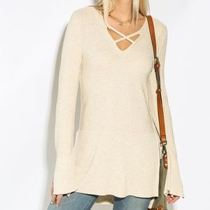 Free People Criss Cross Side Slit Pullover Sweater